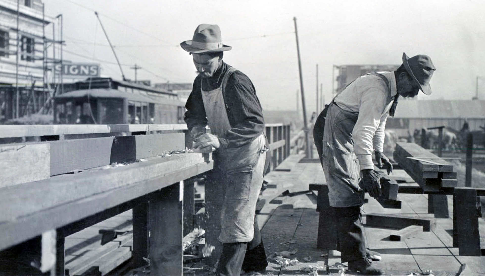 Carpenters rebuild the city after the Earthquake