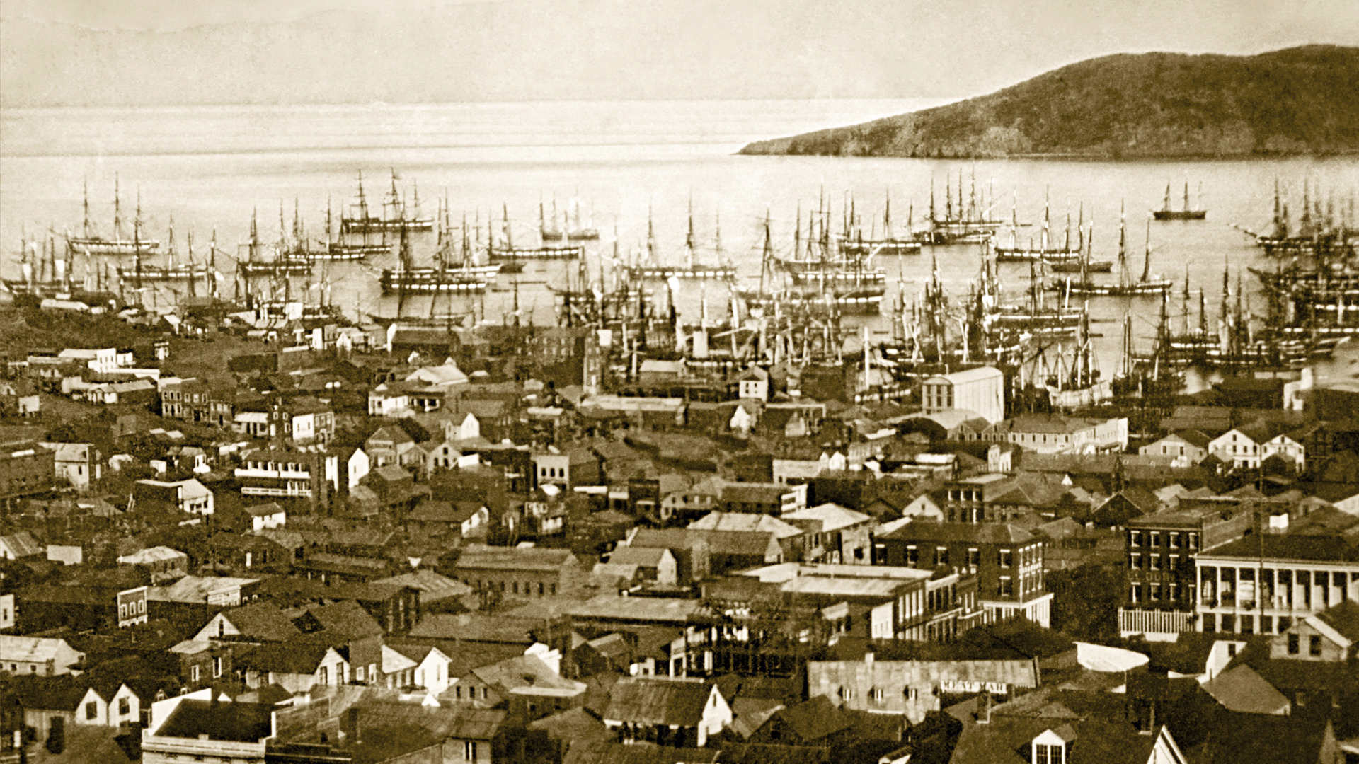 Sailing ships in San Francisco harbor. Library of Congress