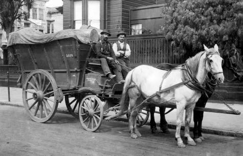 A typical two-man crew, with horse-drawn wagon, North Beach, circa 1920. Courtesy of the author.