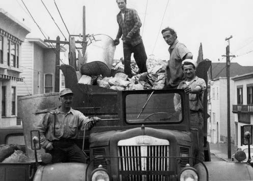 "Picture, circa 1950, of the traditional ""open truck"" that had been used by the company since the turn of the twentieth century; the only ""improvement"" was that a gasoline engine replaced the horse in 1920. The picture shows Attilo Borghello, Aldo Bacigalupi, Mario Stefanelli (author's cousin), and Terso Bioni. Terso's two brothers, Ned and Bob, also worked for the company. Courtesy of the author."
