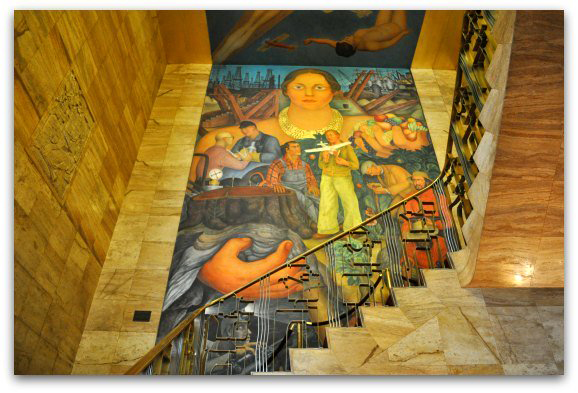 """The mural """"Allegory of California"""" by Diego Rivera, graces the stairwell of the City Club (Formerly the Pacific Stock Exchange Club)."""