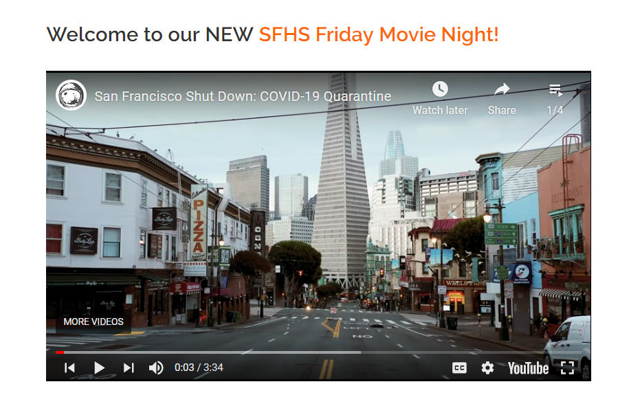 Welcome to our NEW SFHS Friday Movie Night!